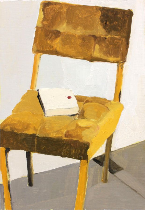 Molly Douthit, It's a joke (from the Chairs series) 2017. Oil on panel. Photograph: Molesworth Gallery