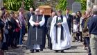 Bishop of Cork Dr Paul Colton and Christopher Peters, Dean of Rosscarbery lead the procession at the funeral of Valerie French-Kilroy, who was found dead last week at her home in Mayo. Photograph:  Denis Boyle