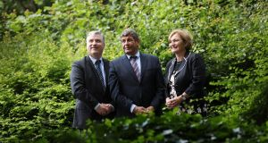 At the Coillte Nature launch: Gerry Murphy (left), managing director of Coillte Land Solutions, Minister of State for food, forestry and agriculture Andrew Doyle and Coillte chairwoman Bernie Gray. Photograph: Julien Behal