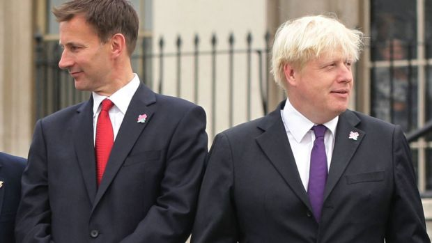 Jeremy Hunt (left) and the Boris Johnson in 2012; the two will now go head to head in the British Conservative Party leadership race. Photogrph: Yui Mok/PA Wire