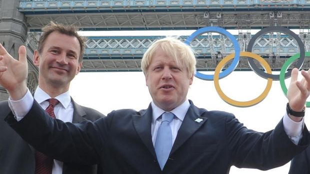 Jeremy Hunt with Boris Johnson in London ahead of the 2012 Olympics. The pair are the final two contenders for the Conservative Party leadership. File photograph: Stefan Rousseau/PA Wire