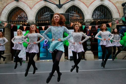 JIG TIME: A troupe led by dancer Amy-Mae Dolan takes part in a Riverdanceathon in front of the Gaiety Theatre. Photograph: Nick Bradshaw/The Irish Times
