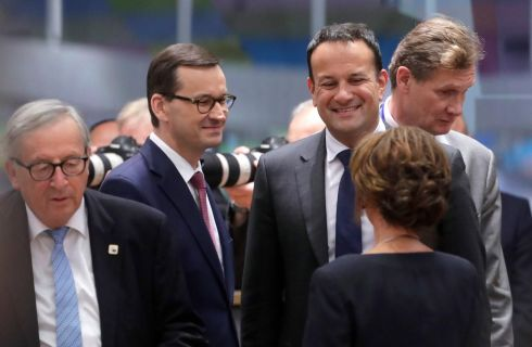 NICE TO SEE EU: EU Commission president Jean-Claude Juncker and Taoiseach Leo Varadkar are seen at the start of a European Council summit in Brussels, Belgium. Photograph: Olivier Hoslet/EPA