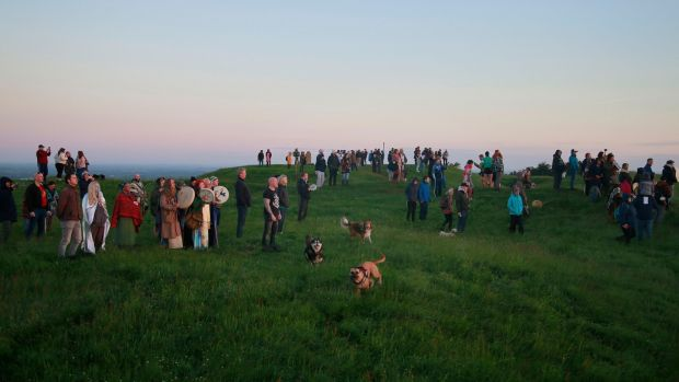 Crowds on the Hill of Tara to celebrate the summer solstice. Photograph: Nick Bradshaw