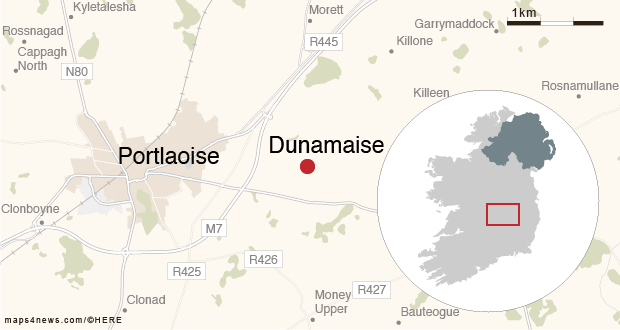 A map showing the area being searched at Dunamaise for the remains of William Delaney. Map: Irish Times Graphics