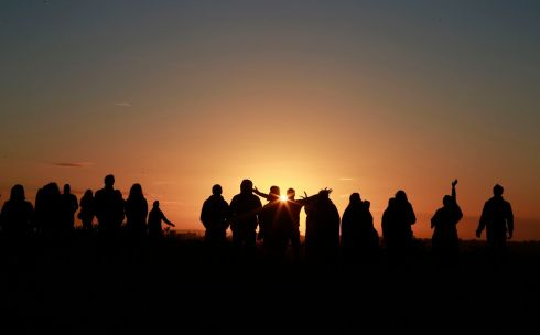 Crowds gathered at the Hill of Tara from 4am to watch the dawn. Photograph: Nick Bradshaw/The Irish Times