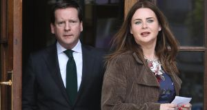 Lisa Marie Murphy, mother of Finn Phillips (13) from Lusk, Co Dublin pictured leaving the Four Courts on Friday  with her solicitor Cian O Carroll  after the National Maternity Hospital   settled the boy's High Court case for €7.25million. Photograph: Collins Courts