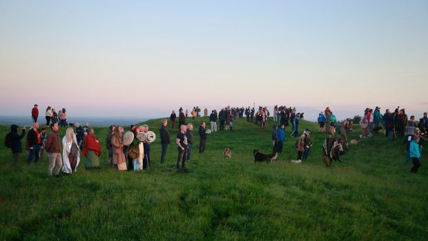 People gathering on the Hill of Tara on Friday morning for the summer solstice. Photograph Nick Bradshaw/The Irish Times