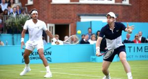 Andy Murray  partnered  Feliciano Lopez  at  the Fever-Tree Championships at Queen's Club. Photograph: Alex Pantling/Getty Images