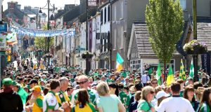 Ulster final day in Clones: Fermanagh Street is almost certainly the only place on earth where you can stand in the one spot and hear, on loud speaker, Hall & Oates and Barleycorn simultaneously. Photograph: Tommy Dickson/Inpho