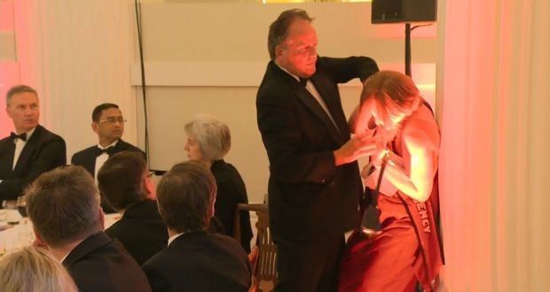 Conservative MP Mark Field tackles a Greenpeace climate protester at a dinner at Mansion House in the City of London on June 21st, 2019. Photograph: UK Pool/AFP/Getty