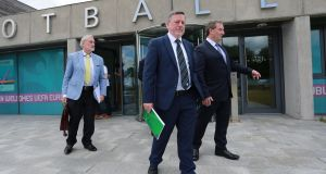 Kieran Mulvey, chairman of Sport Ireland, Donal Conway, president of the FAI, and Aidan Horan, chairman of the Governance Review Group, at the FAI headquarters in Abbotstown where the report from the Governance Review Group was presented. Photograph:  Crispin Rodwell