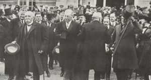 "The ""big three"" at the Paris Peace Conference: French president Paul Clemenceau (far left), US president Woodrow Wilson and British prime minister David Lloyd George."