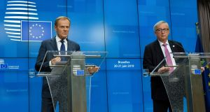 European Council president Donald Tusk (left) and European Commission president Jean-Claude Juncker:  business ended on Friday with  a brief Brexit discussion. Photograph: Olivier Hoslet