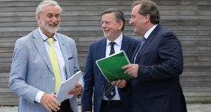 From left,  Kieran Mulvey, chairman of Sport Ireland, Donal Conway, president of the FAI, and Aidan Horan, chairman of the governance review group, at FAI headquarters in Abbotstown. Photograph: Crispin Rodwell