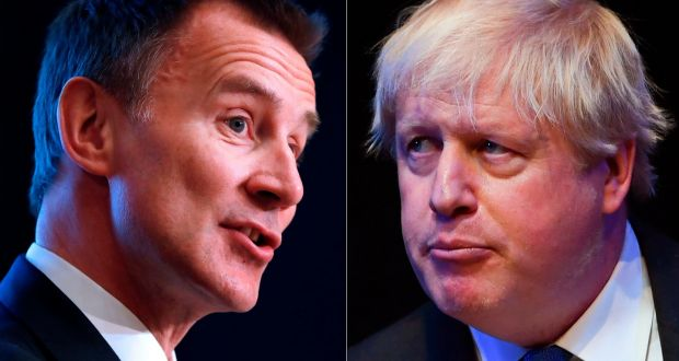 Jeremy Hunt (L) and Boris Johnson (R) face off in race to be prime minister. Photograph: Odd Anderson and Paul Ellis/AFP/Getty