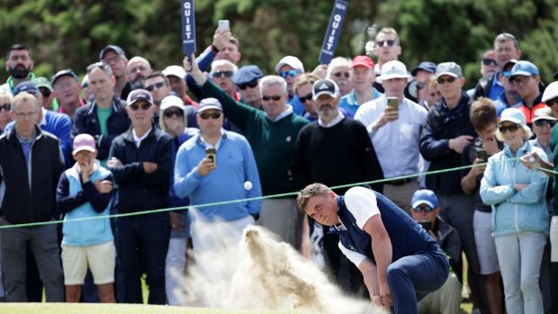 Mallow's James Sugrue plays from a bunker during the final of the British Amateur Championship at Portmarnock Golf Club. Photograph: Patrick Bolger/Getty Images