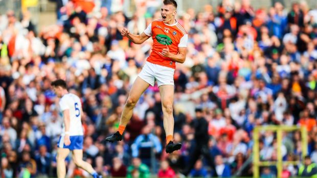 Armagh's Rian O'Neill celebrates scoring a goal against Monaghan. Photograph: Tommy Dickson/Inpho