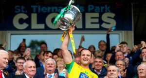 Donegal's Michael Murphy lifts the Anglo Celtic Cup after their Ulster SFC Final victory over Cavan at  St Tiernach's Park in  Clones. Photograph: Tommy Dickson/Inpho