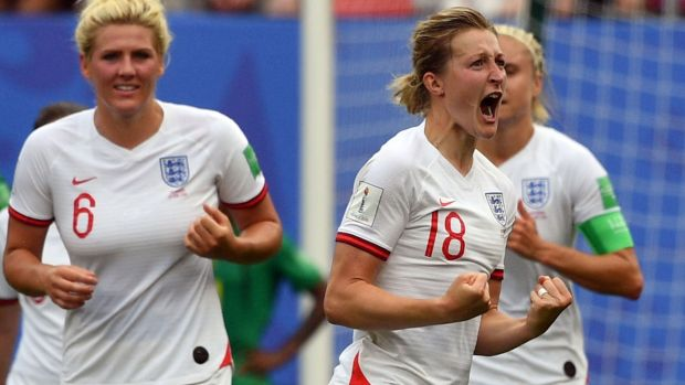 Ellen White celebrates after scoring England's second against Cameroon. Photograph: Philippe Huguen/AFP/Getty