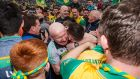 Donegal manager Declan Bonner celebrates  with Jamie Brennan after the victory over Cavan in the Ulster SFC Final in Clones. Photograph: Tommy Dickson/Inpho