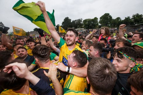 Donegal's Ryan McHugh celebrates after the Ulster GAA senior football championship final at St Tiernach's Park in Clones, Co Monaghan, where Donegal beat Cavan. Photograph: Tommy Dickson/INPHO