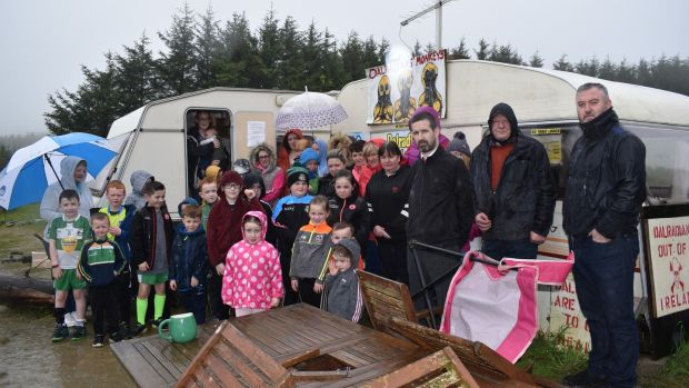 The protest camp at a gold mine in Greencastle, Co Tyrone. Photograph: Freya McClements