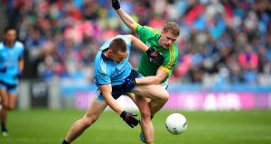 Dublin's Con O'Callaghan and Shane Gallagher of Meath in the Leinster  Senior Football Championship final in Croke Park. Photograph:  Ryan Byrne/Inpho