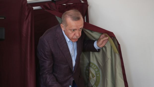 Turkish president Recep Tayyip Erdogan during voting in the Istanbul mayoral election re-run on Sunday. Photograph: Erdem Sahin/EPA