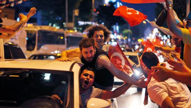 Supporters of the secular opposition Republican People's Party candidate for mayor, Ekrem Imamoglu, celebrate in Istanbul. For all the understandable euphoria, it is too early yet to write off Turkish president Recep Tayyip Erdogan. Photograph: Lefteris Pitarakis/AP
