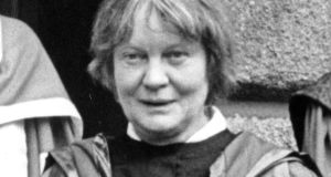 Iris Murdoch at the conferring of honorary degrees by Dublin University in 1985. Photograph: Jack McManus / THE IRISH TIMES