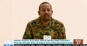 Videograb of Ethiopia's prime minister Abiy Ahmed, dressed in military uniform, addressing the public on television after the failed coup attempt. Photograph: Getty Image