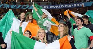 Ireland  fans at the Rugby World Cup game against Australia at Eden Park, Auckland, New Zealand  in 2011. Photograph: Dan Sheridan/Inpho