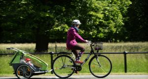 A cyclist enjoying the good weather in Phoenix Park, Dublin last week.  Photograph: Dara Mac Dónaill / The Irish Times
