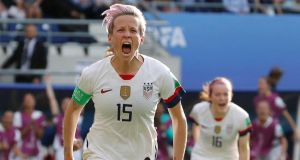 Megan Rapinoe of the Unite States celebrates scoring her second goal from the peanalty spot against Spain at Stade Auguste-Delaune in Reims, France. Photograph: Bernadett Szabo/Reuters