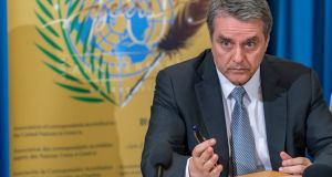 WTO director-general Roberto Azevedos warns global trade tensions  will have consequences in increased uncertainty, lower investment and weaker trade growth. Photograph: Martial Trezzini/EPA