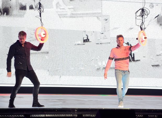 Kian Egan and Nicky Byrne rehearse. Photograph: Arthur Allison/Pacemaker