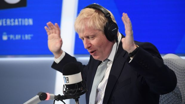 Conservative party leadership candidate Boris Johnson taking part in a radio interview with Nick Ferrari at LBC in central London. Photograph: PA Wire