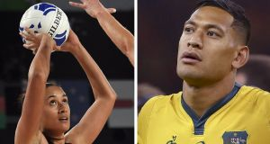 A crowdfunding campaign by controversial Australian rugby player Israel Folau, has been supported by his wife, a New Zealand netball international. Photograph: Getty Images