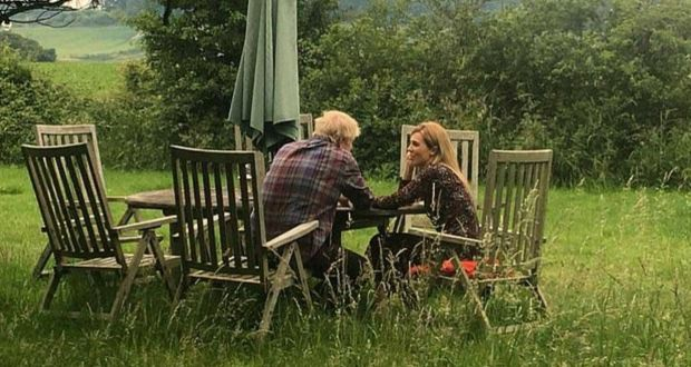 Boris Johnson and Carrie Symonds in the photograph that appeared in selected British newspapers this week.