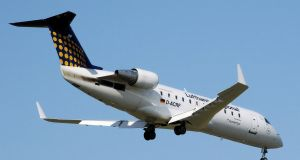 "A Bombardier CRJ series jet. The union Unite says it  is worried  the acquisition of the CRJ programme is a move by Mitsubishi to  buy up a competitor ""to increase market share"""
