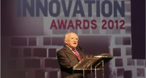 President Michael D Higgins  at The Irish Times  Innovation Awards 2012 at the Royal Hospital in Kilmainham, Dublin. Photograph: Dara Mac Dónaill
