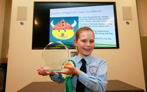VIKING SPLASH: Laura Ryan, of St Brigid's National School, Coon, Co Kilkenny, overall national winner of the National Schools Emoji competition, after the winners were announced by Minister for Culture, Heritage and the Gaeltacht Josepha Madigan. Photograph Nick Bradshaw for The Irish Times
