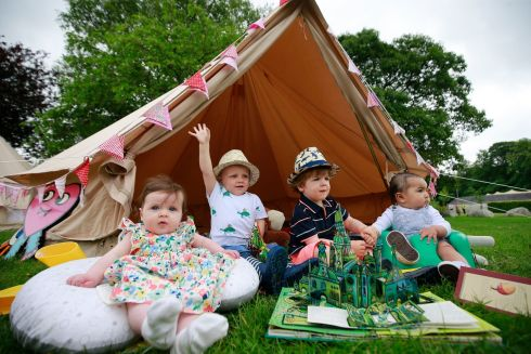 KALEIDOSCOPE 2019: Lily Maguire (6 months), of Naas; Tom McDermott (2), from Blessington, and Charlie Maguire (2) and Zion Lopez Lawlor (6), also Blessington, helping to showcase what's on during Kaleidoscope 2019, a family festival being held this weekend at Russborough House, Co Wicklow. Photograph Nick Bradshaw/The Irish Times