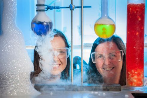 GOOD CHEMISTRY: Paige Poole and Catherine Doyle, teachers at FCJ Secondary School, Bunclody, Co Wexford, at UCC for the Basf Ireland Summer School, where chemistry teachers could carry out experiments related to the Leaving Certificate syllabus. Photograph: Daragh McSweeney/Provision