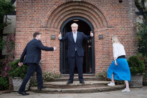 NEXT BRITISH PM? Conservative party leadership candidate Boris Johnson gestures to visitors as members of his staff ascend steps during a tour of the Royal Horticultural Society garden at Wisley, in Surrey. Photograph: Stefan Rousseau/PA Wire