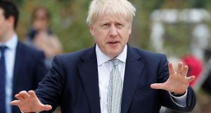 Boris Johnson,  leadership candidate for Britain's Conservative Party, arrives for a walkabout at Wisley Garden Centre in Surrey, on Tuesday. Photograph: Peter Nicholls/Reuters