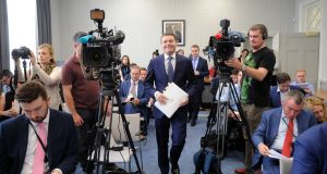 The Minister for Finance, Paschal Donohoe, arriving  at the Department of Finance on Tuesday to deliver the  summer economic statement. Photograph: Aidan Crawley
