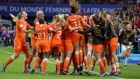 Lieke Martens of the Netherlands celebrates with her teammates after scoring a late penalty to send them through to the quarter-finals of the Women's World Cup at the expense of Japan. Photo: Eddy Lemaistre/EPA