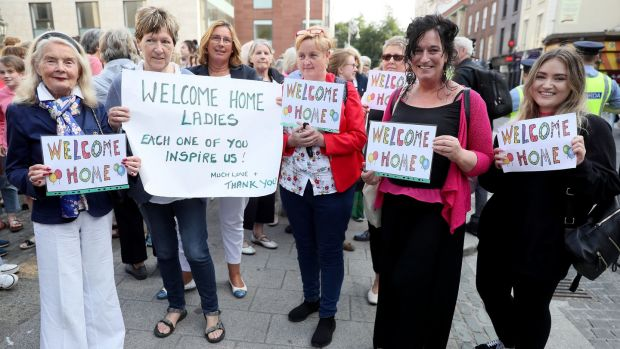 Members of the public wait outside the Mansion House in Dublin to greet survivors of the Magdalene laundries. Photograph: Brian Lawless/PA Wire